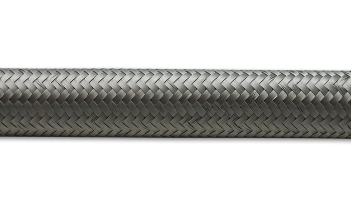 Vibrant 2ft Roll of Stainless Steel Braided Flex Hose AN Size -6