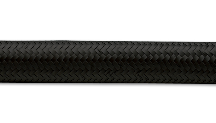 Vibrant 2ft Roll of Black Nylon Braided Flex Hose AN Size -6