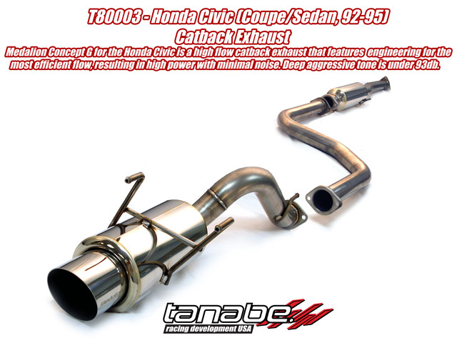 Tanabe Concept G Cat Back Exhaust for 92-95 Honda Civic Coupe/SE