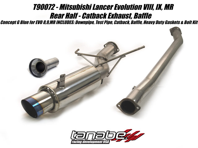 Tanabe G Blue Turbo Back Exhaust for 03-05 Mitsubish Lancer EVO8