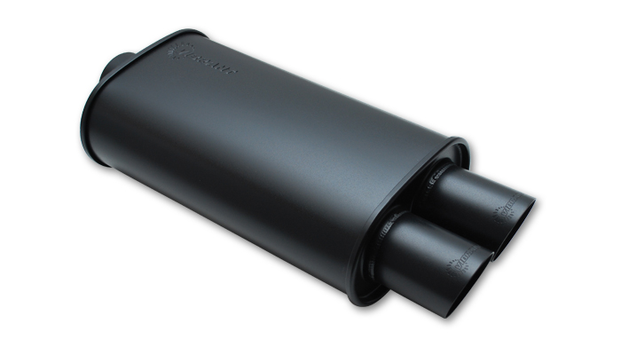 "Vibrant STREETPOWER FLAT BLACK Oval Muffler with Dual 3"" outlet"