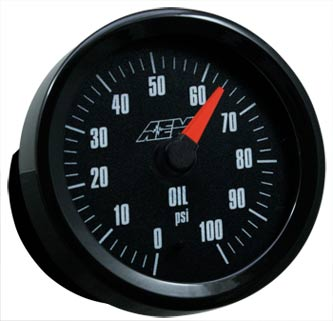 AEM Oil/Fuel Pressure with Analog Black Face